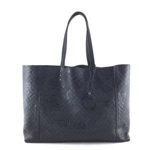 Butterfly Embossed Interwoven Brown Leather Tote